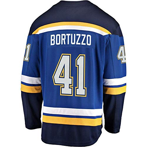HEMWY mannen/vrouwen/Youth_Robert_Bortuzzo_#41_Blue_Sportswears_Training_Hockey_Jersey S-XXXL