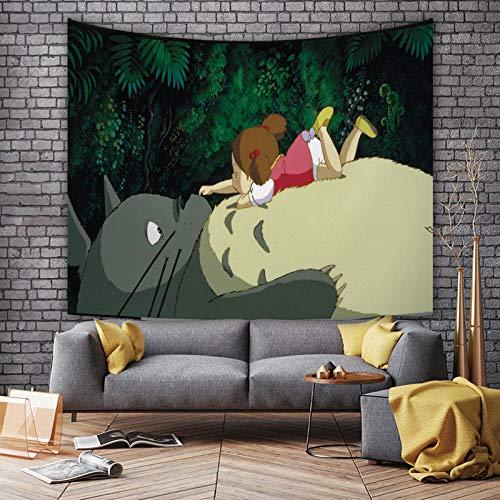 LSSWY Tapices,Anime My Neighbor Totoro Serie 3D Moda Mantel Colcha Dormitorio Sala De Estar Arte Decoración del Hogar Mural (Incluida La Lámpara) Size B