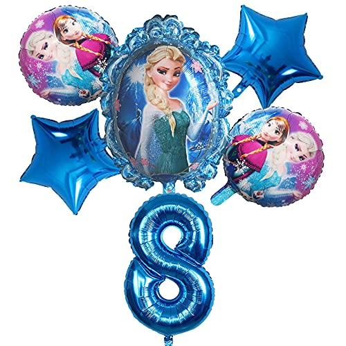 ENXI Globos 6 unids Disney congelado Princesa Elsa Helio Globos número Bola Baby Baby Ducha Decoraciones Globos niños Juguete Fiesta Fiesta de cumpleaños Globos de Aire ( Color : Brown )
