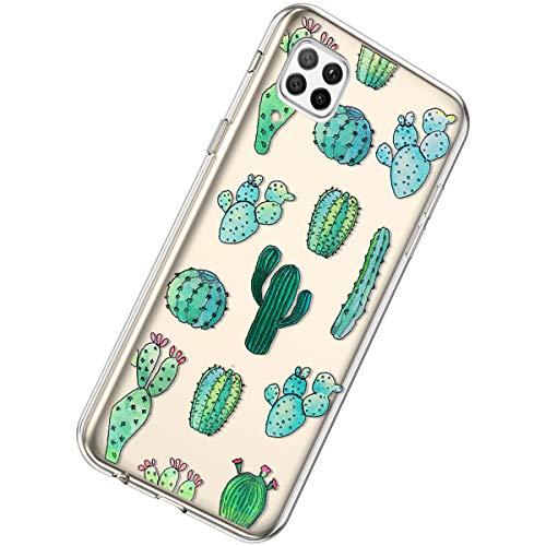 Herbests Kompatibel mit Huawei P40 Lite Hülle Silikon Weich TPU Handyhülle Durchsichtige Schutzhülle Niedlich Muster Transparent Ultradünn Kristall Klar Handyhülle,Kaktus