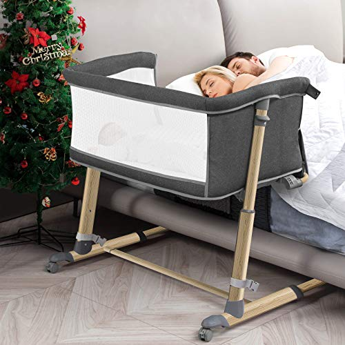 """Bedside Bassinet for Babies, RONBEI 2 in1 Bedside Crib and Baby Bassinet for Newborn/Infant, Portable Bed to Bed, Adjustable fit for Bed Height 19"""" - 26.5"""""""