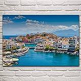 Cuadro de lienzo Grecia paisaje marino de verano mar mediterráneo paisaje de la ciudad la imagen de la pared decoración de la sala de estar del hogar para el dormitorio 60x80 cm sin marco