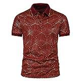 Camisa Polo Hombres Verano Slim Fit Hombres Manga Corta Solapa Simplicidad Imprimir Transpirable Camisa Hombres Entrenamiento Béisbol Camiseta Hombres Negocios F-Red M