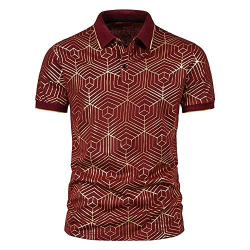 Polo Shirt Hombre Verano Moderno Casual Manga Corta Hombre Deportiva Camisa Tendencia Moda Estampado Henley Camisa Básica Ajuste Regular Negocios Casual Transpirable Camisa F-Red M