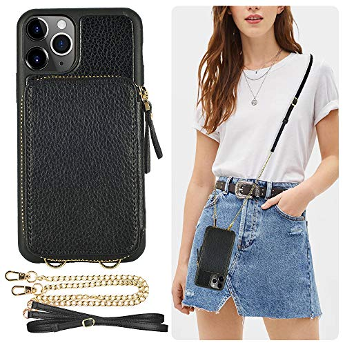 ZVE iPhone 11 Pro Wallet Case iPhone 11 Pro Case with Credit Card Holder Slot Crossbody Chain Handbag Purse Wrist Strap Zipper Leather Case Cover for Apple iPhone 11 Pro 5.8 inch 2019 - Black