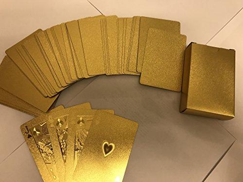 Freefa Mazzo di Carte tascabili,placcatura in Oro Confezione Regalo Deluxe di Legno (Euro)