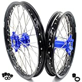 KKE 21' & 18' Spoked Enduro Wheels Set for YAMAHA WR250F 01-18 WR450F 03-18 Blue Hub Black Rim Off Road Motorcycle