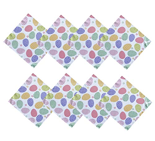 Newbridge Colored Easter Egg Spring and Easter Fabric Napkins - Polka Dot, Zig Zag, Floral Decorated Easter Egg Design Easy Care, Stain Resistant Fabric Napkins, Set of 8 Napkins