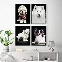 素敵な白い動物の犬の子犬のキャンバスの絵画ヨークシャーテリアのポスターとプリントリビングルームの装飾のための壁の芸術の写真40X50cm16x20inchフレームなし