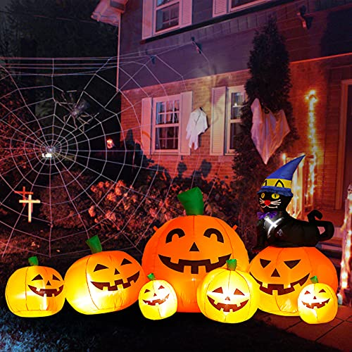 DomKom 8 FT Decorazioni gonfiabili Lunghe di Halloween Zucca con Cappello da Mago Gatto Nero, Decorazioni per Feste all'aperto Decorazioni da Giardino per Halloween, luci a LED