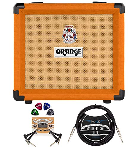"""Orange Amps Crush 12-12-Watt Guitar Combo Amplifier with 3 Band EQ Bundle with Blucoil 10' Straight Instrument Cable (1/4""""), 2-Pack of Pedal Patch Cables, and 4-Pack of Celluloid Guitar Picks"""