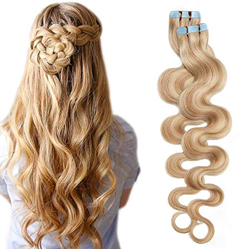 SEGO Extension Adhesive Cheveux Naturel Ondule 20 pcs 50g Tie and Dye - 55 CM 18P613#Ash Blond & Blond très Clair - Rajout Bande Adhesif Vrai Tape in Human Hair