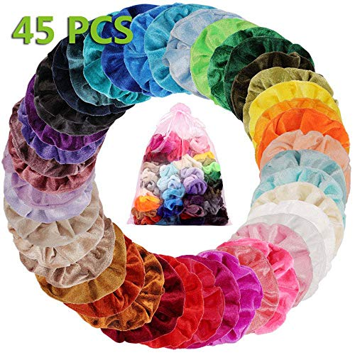 45 Colores Velvet Elástico Hair Scrunchies, Lazos Elásticos De Banda Pelo Stretchy...