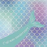 Clairefontaine 20031C - Un set d'invitation pour anniversaire comprenant 8 cartes simples 11,6x11,6 cm + 8 enveloppes 12x12 cm, Sirène