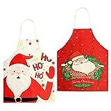Kulannder Grembiule Natalizio, 2 Grembiuli Natalizi Rossi Sono Perfetti per Natale, Grembiule Babbo Natale può Proteggere i Tuoi Vestiti dalle Macchie di Olio e Grembiule da Cucina Natalizio