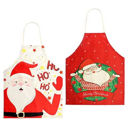 Kulannder Kochschürze Weihnachten,2Pcs Weihnachten Schürze,Erwachsene Küchenschürze Weihnachten für Weihnachtensparty Heiligabend, Damen Herren