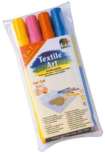 Nerchau Feutres pour Tissus, 4 Couleurs : Jaune, Orange, Rose, Bleu Ciel
