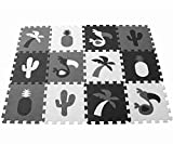 MUSOLEI Baby Play Bodenmatte Flamingo Ananasfliesen, Spielzeug Puzzle Übungsspielmatte Weicher Eva-Schaum Bodenfliesen 12 Stück / BeutelJedes Stück 30*30cm dick 1 cm(schwarz grau und weiß)
