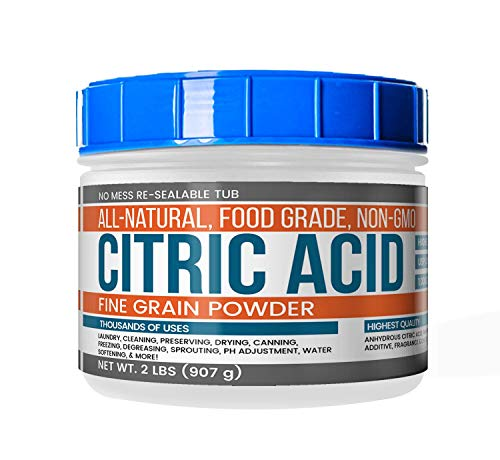 Citric Acid (2 lb) Natural & Highest Quality, Pure, Food Safe, Non-GMO, Resealable Tub by Earthborn Elements