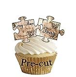 Decoraciones precortadas para decoración de tartas de boda, aniversario, estilo Shabby Chic (36 de cada nombre)