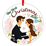 SICOHOME First Christmas Married Ornament 2020,3' Quarantine Face Mask Wedding Ornament,1st Christmas Newlywed Couples Keepsake Wedding Gift