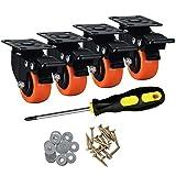ASRINIEY Casters, 2' Caster Wheels, Orange Polyurethane Castors, Top Plate Swivel Wheels, Casters...