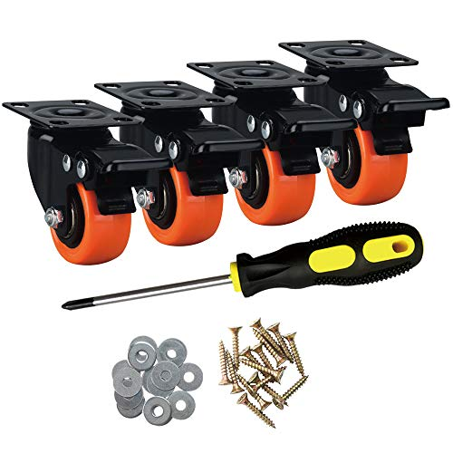 "ASRINIEY Casters, 2"" Caster Wheels, Orange Polyurethane Castors, Top Plate Swivel Wheels, Casters Set of 4, Locking Casters for Furniture and Workbench, Heavy Duty Casters, 4 Pack Casters with Brake"
