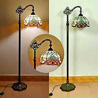 Tiffany vintage Salon Lampadaire Sur Pied avec interrupteur Rétro Bureau Lampe Sur Pied chambre Ø30CM Ombre ajustable Aba...