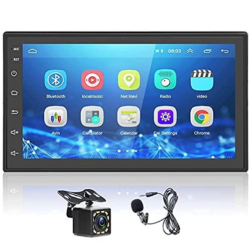 podofo Autoradio con Car Play e Android Auto, Car Radio Android 2 Din Universale con Touch Screen 7   HD 1080P, Lettore MP5 con RDS USB Bluetooth GPS WIFI DAB+ FM+Mirror Link+Fotocamera posteriore