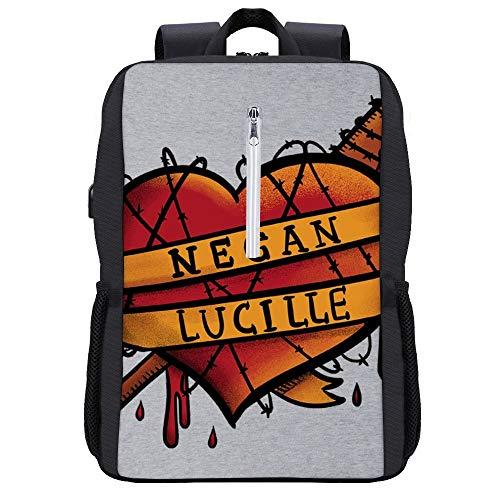Bloody Love Walking Dead Negan Lucille Mochila para portátil con puerto de carga USB