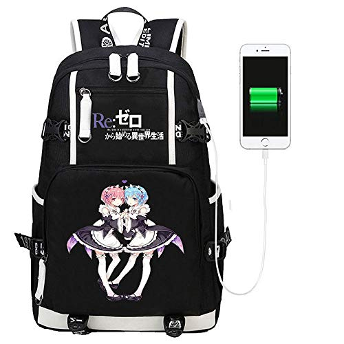 WOONN Anime A Different World Usb From Scratch Backpack Middle Student School Bag Teens Laptop Backpack