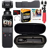 DJI Osmo Pocket 4K Ultra HD Action Camera Touchscreen Handheld 3-Axis Gimbal Stabilizer All You Need Bundle with Custom Case, 64GB Card, Deco Gear Tripod, Software, and 1 Year Warranty Extension