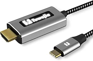 USB Type C to HDMI 変換 ケーブル1.8M 4K高解像度, Tuwejia Thunderbolt 3 ケーブル バックライトインジケーター付き MacBook Pro/MacBook Air 2018 2019/ Mac mini/iPad Pro 2018/2019, Microsoft Surface Go/Book 2, Samsung Galaxy S9/S10/Note9/USB C デバイスに対応