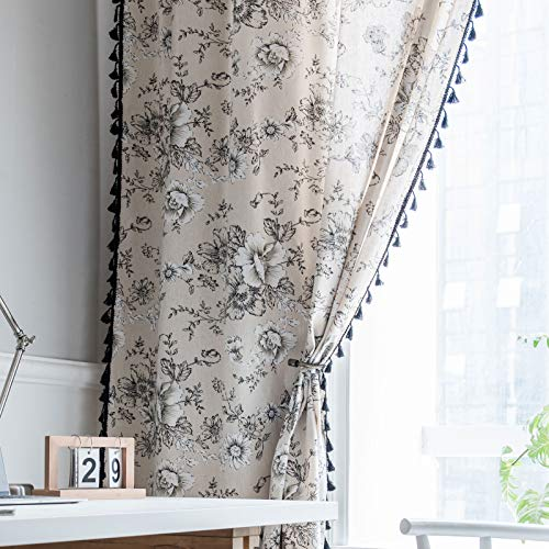 Lahome Boho Cotton Linen Tassel Window Curtains,Set of 2 Farmhouse Floral Curtain Panels, Rod Pocket Semi Blackout Country Style Window Treatment for Living Dining Room,52''W x 63''L
