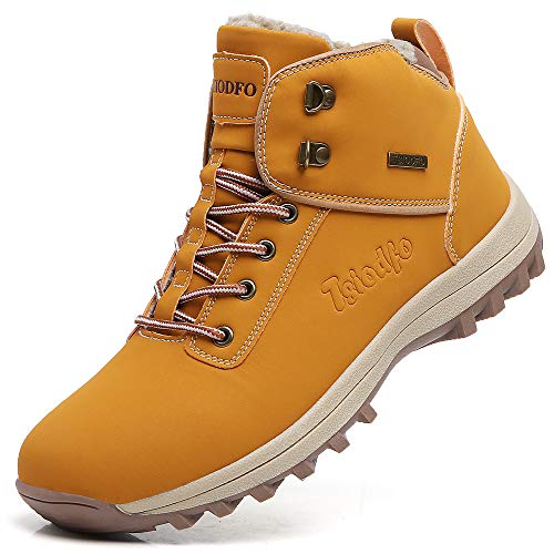 TSIODFO Men Waterproof Hiking Snow Boots for The Cold Weather Winter Outdoor Trekking Ankle Walking Shoes with Fur Warm Light Brown