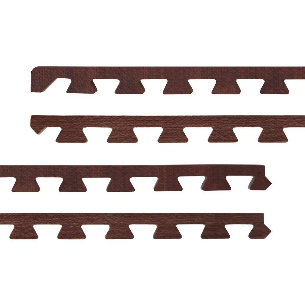 キャロラインコアオーラル【 超極厚 20mm 】 ノンホル 『 やさしいジョイントマット 』 ナチュラル 木目調 大判 【約8畳分サイドパーツ ラージサイズ(60cm) ダークウッド (ブラウン) 】 床暖房対応 防音