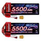 FCONEGY 2S Lipo Battery 7.4V RC Battery Pack 60C 5500mAh Hardcase with Deans/T Connector and XT60 Plug for RC Cars Trucks Truggy Boat 1/8 1/10, RC Racing (2 Packs)