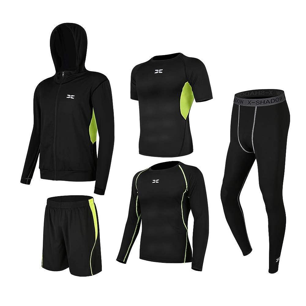 届けるまだガラスAisprts コンプレッションウェア セット スポーツウェア メンズ 長袖 半袖 冬 上下 5点セットトレーニング 高弾力 吸汗 速乾 ランニングウェア セット