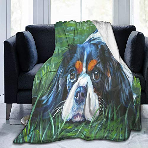 PANILUR Manta de Franela Suave,Cavalier King Charles Spaniel Tricolor Perro L A Shepard Puppy Canine Pup,Cama de Camping para sofá 204x153cm