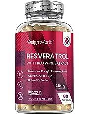 Resveratrol Supplement met rode wijnextract - 250mg dagelijkse dosering - Vegan capsules met geteste ingrediënten - 60 capsules