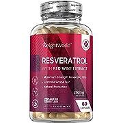 Resveratrol Kapseln - 250mg Pure Resveratrol & 20mg OPC mit Rotwein Polyphenole - 98% Resveratrol mit Traubenextrakt - 60 vegane Kapseln - Geprüfte Inhaltsstoffe ohne Zusätze - Von WeightWorld