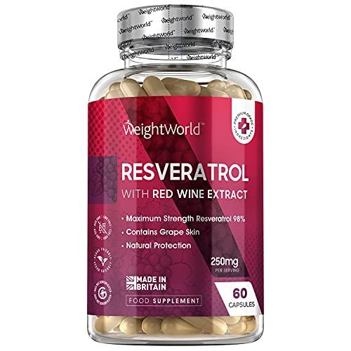Resveratrol Cápsulas Alta Dosis 60 Cápsulas Veganas - Resveratrol Puro con Extracto de Semilla de Uva, Fuente de Vitaminas y Antioxidantes Vitamina C y Vitamina E para Piel y Articulaciones