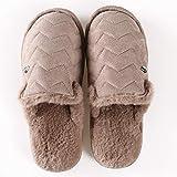 KFDS Frauen-Mikrofaser Terry Slide Slipper, Bequeme Faux Fur Frauen Haus Slipper Scuff Gedächtnis-Schaum-Slip-on-Anti-Skid Sole (Color : Brown, Size : EUR43-44)