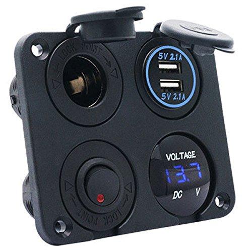 Maso Chargeur double USB 2,1 A et 2,1 A + voltmètre LED + prise d'alimentation 12 V + interrupteur à bascule marche/arrêt Panneau multifonction 4 en 1 pour camion
