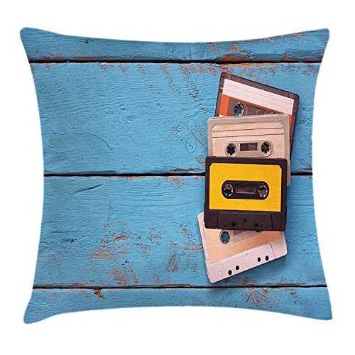 XIAOYI Indie Throw Pillow Cushion Cover, Vintage Cassette Tapes on Aqua Wooden Table Close Up Photo Retro Music Old School, Decorative Square Accent Pillow Case, 18 X 18 inches, Multicolor