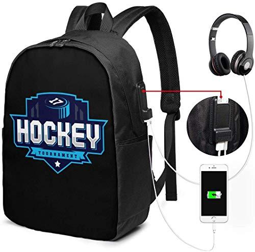 Unisex Rugzak met USB Opladen Poort Hockey Logo voor Sport Team-2 Klassieke Mode Algemene Zakelijke Boekenkast