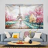 Farbiger Baum Eiffel Turm Wandteppich Psychedelic Wandbehang Tagesdecke Wandtuch Wandteppich Paris Stadt Landschaft Picknick Stranddecke Teppich Für Schlafzimmer Wohnzimmer Wohnheim Wanddeko 150X130cm