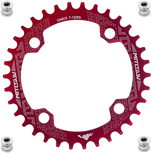 YBEKI Plato de Bicicleta 32T 34T 36T 38T 40T 42T 44T 46T 48T 50T 52T Plato 104BCD Redondo Ovalado Estrecho Ancho Unico Monoplato para Bicicleta de Montaña Bicicleta de Carretera (Redondo Rojo, 52T)