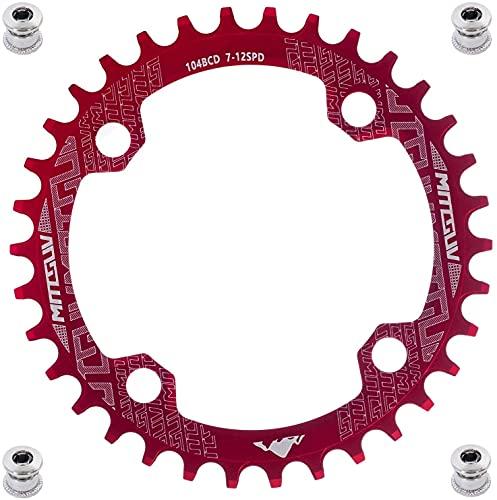 YBEKI Corona per Bici 32T 34T 36T 38T 40T 42T 44T 46T 48T 50T 52T Corona Stretta e Larga 104BCD Rotonda Ovale Stretta Ampia Singola Bici Corona per Mountain Bike Strada MTB