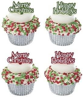 Merry Christmas Happy Holidays Cupcake Picks - 24 pc